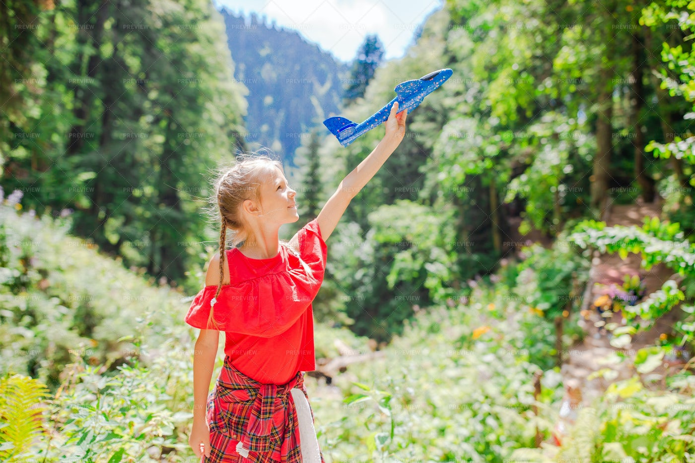 Toy Airplane In The Woods: Stock Photos