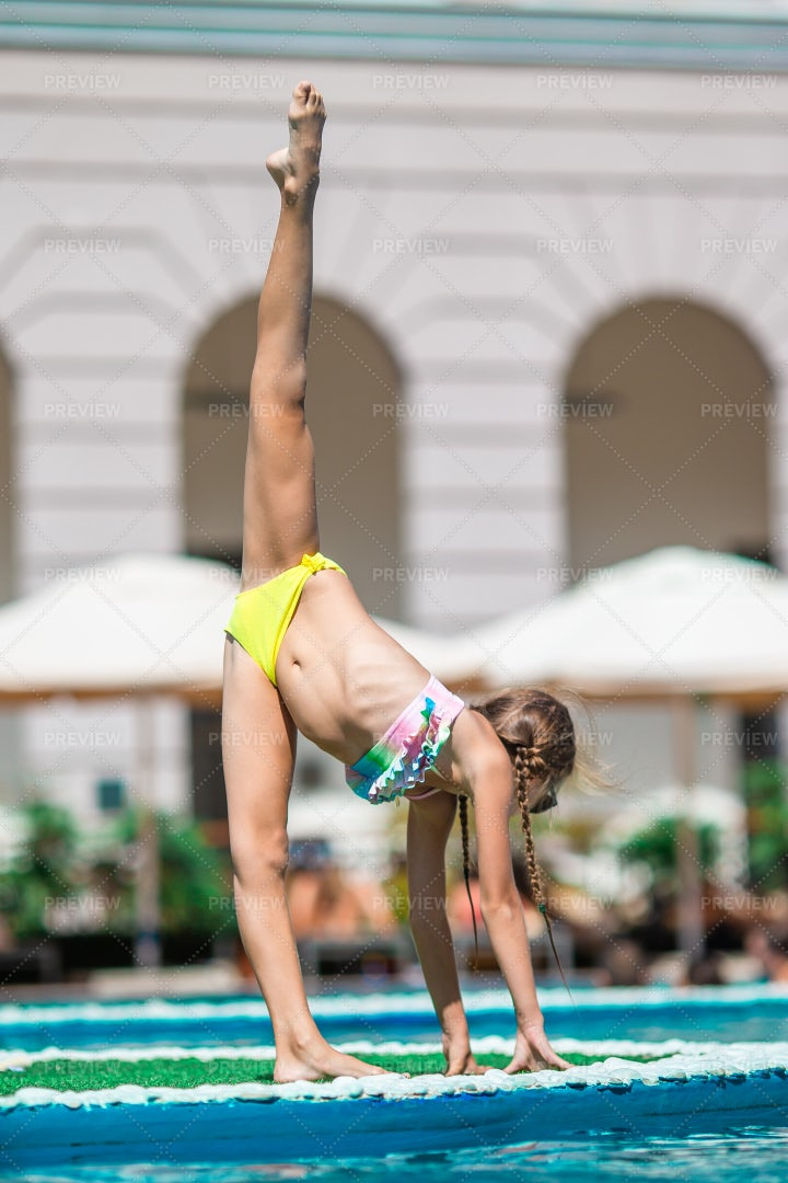 Pool Gymnastics: Stock Photos
