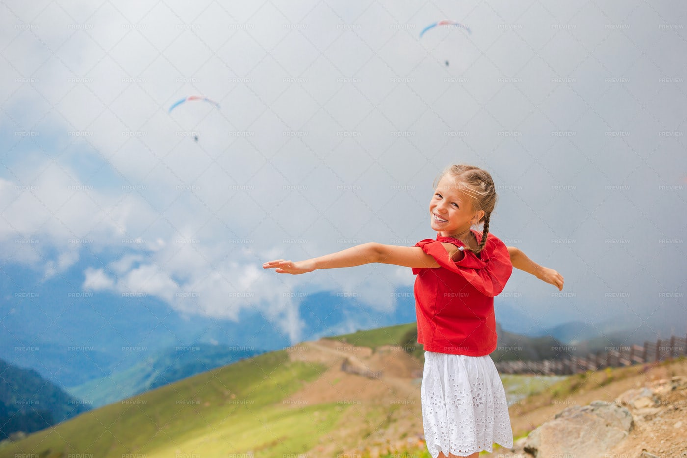Child On A Mountaintop: Stock Photos
