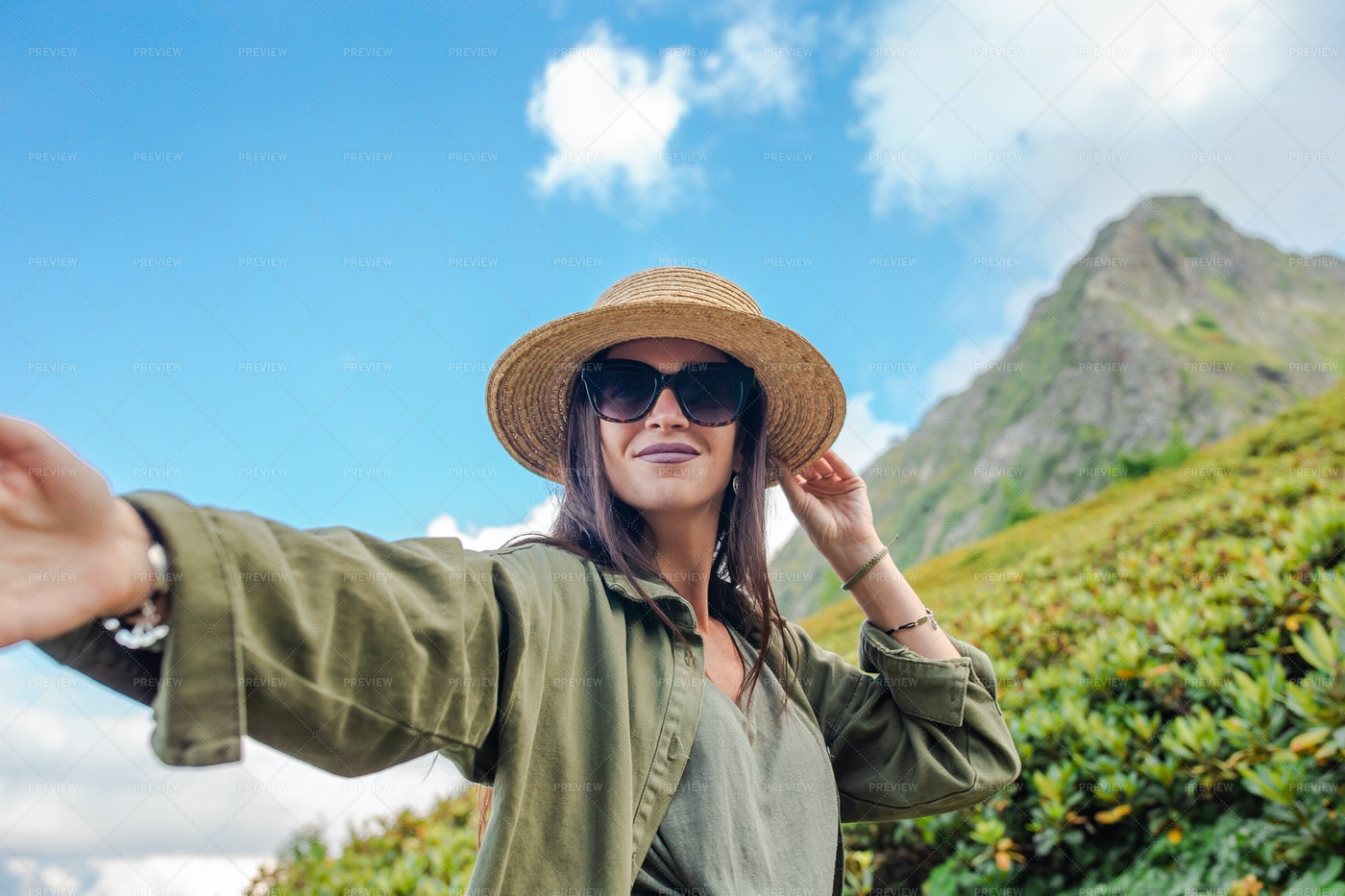 Woman Taking A Selfie On The Mountains: Stock Photos