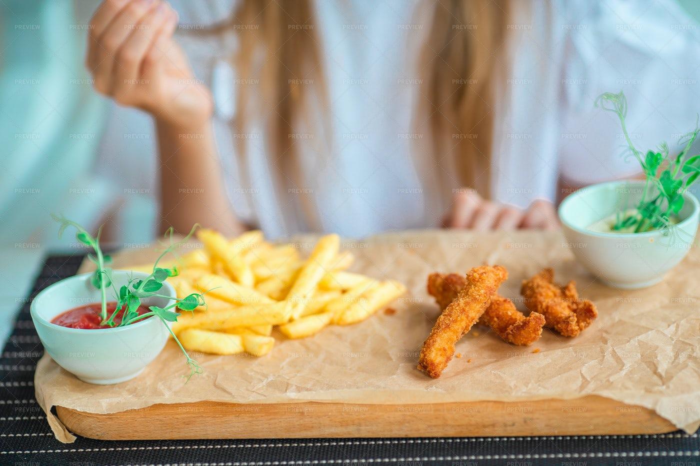 Crispy Potato Fries With Dips: Stock Photos