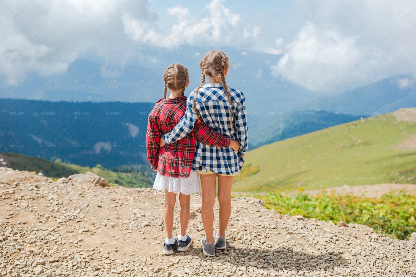 Sisters In The Mountains: Stock Photos