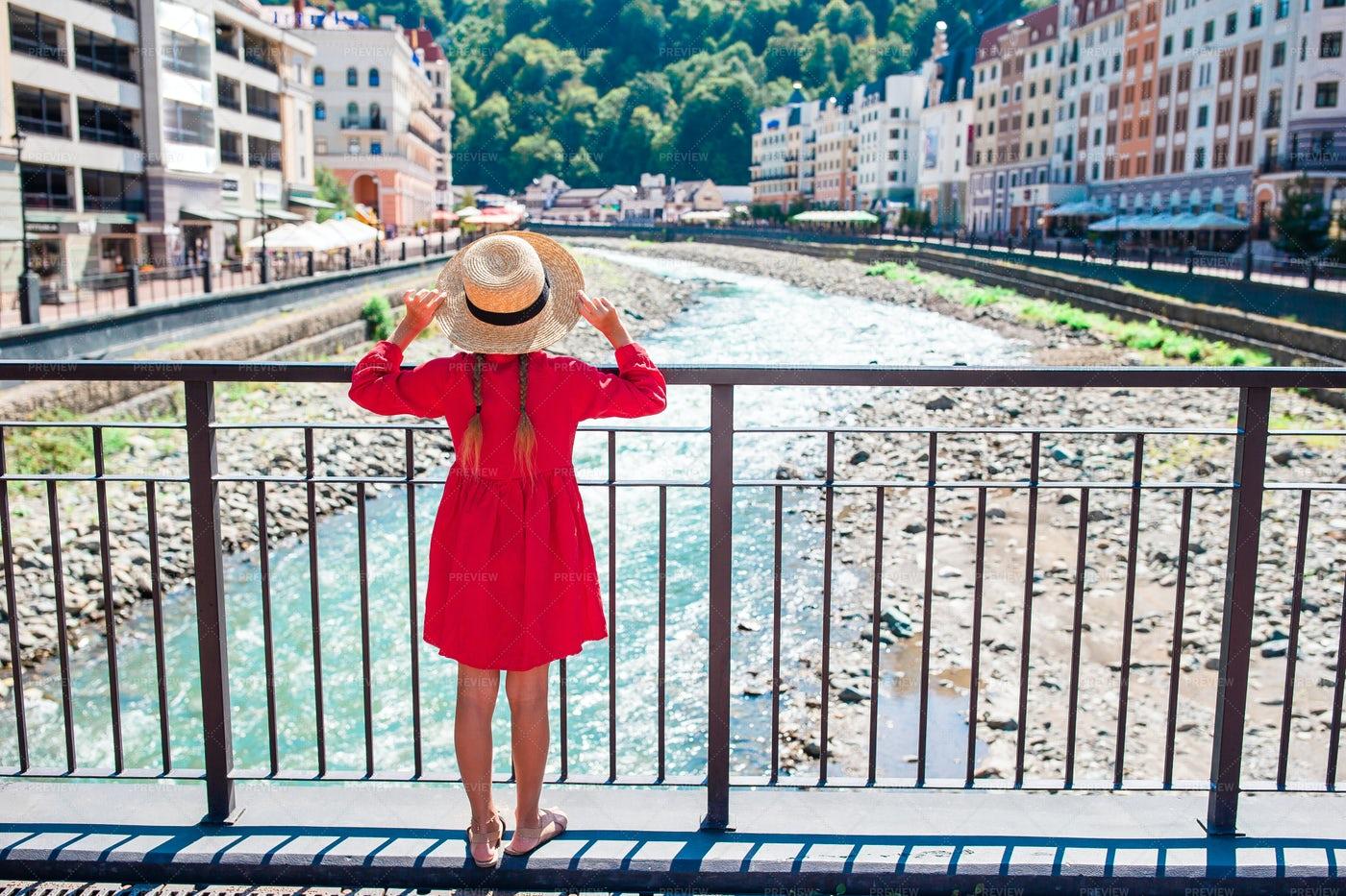 Girl Looking At A River: Stock Photos