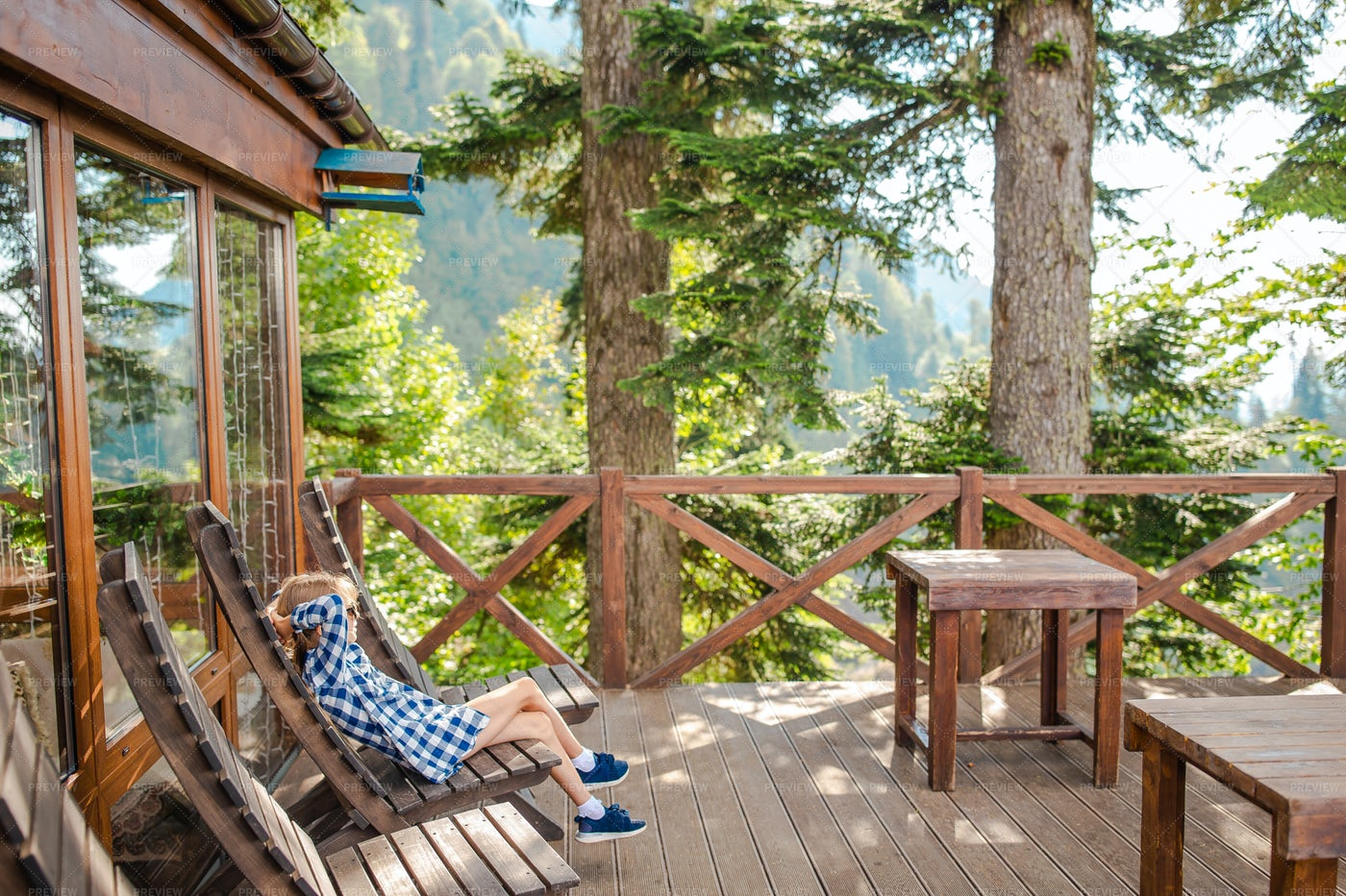 Enjoying Vacations In A Mountain Cabin: Stock Photos