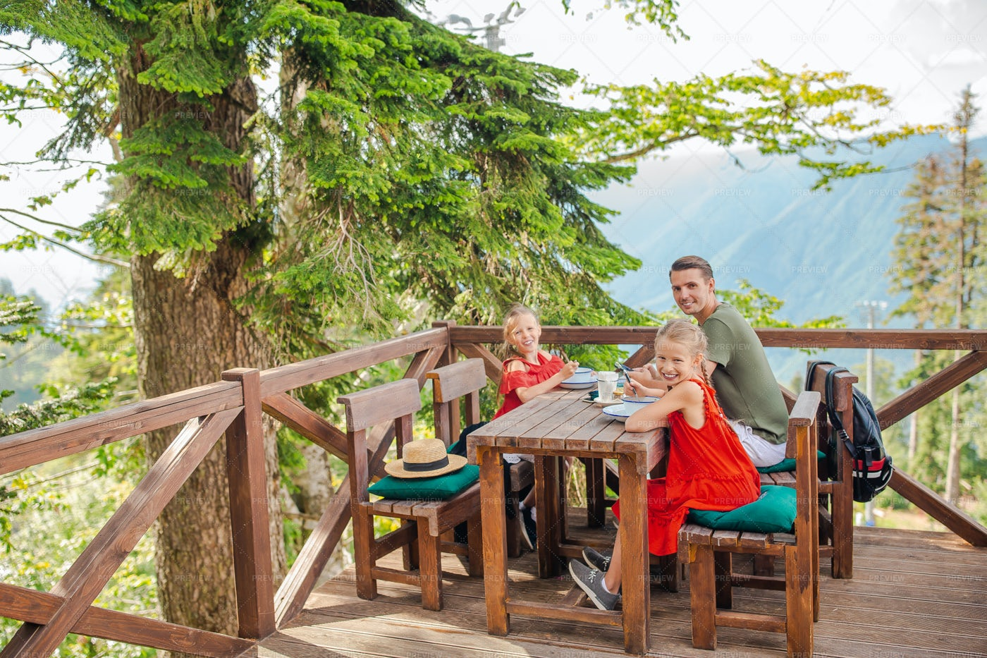 Happy Father And Kids In The Mountains: Stock Photos