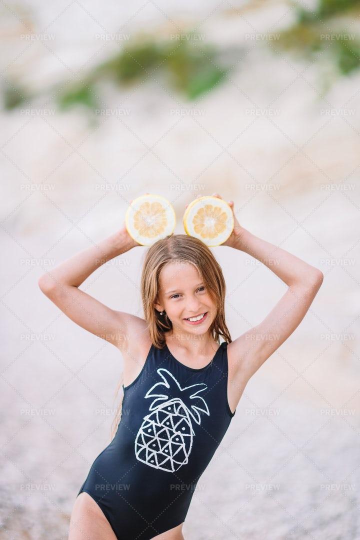 Lemons On The Beach: Stock Photos