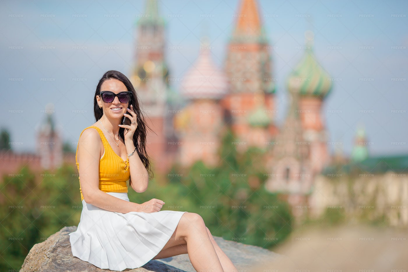 Tourist On The Phone In A Big City: Stock Photos