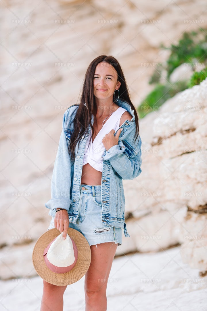 Woman In Denim Outfit: Stock Photos