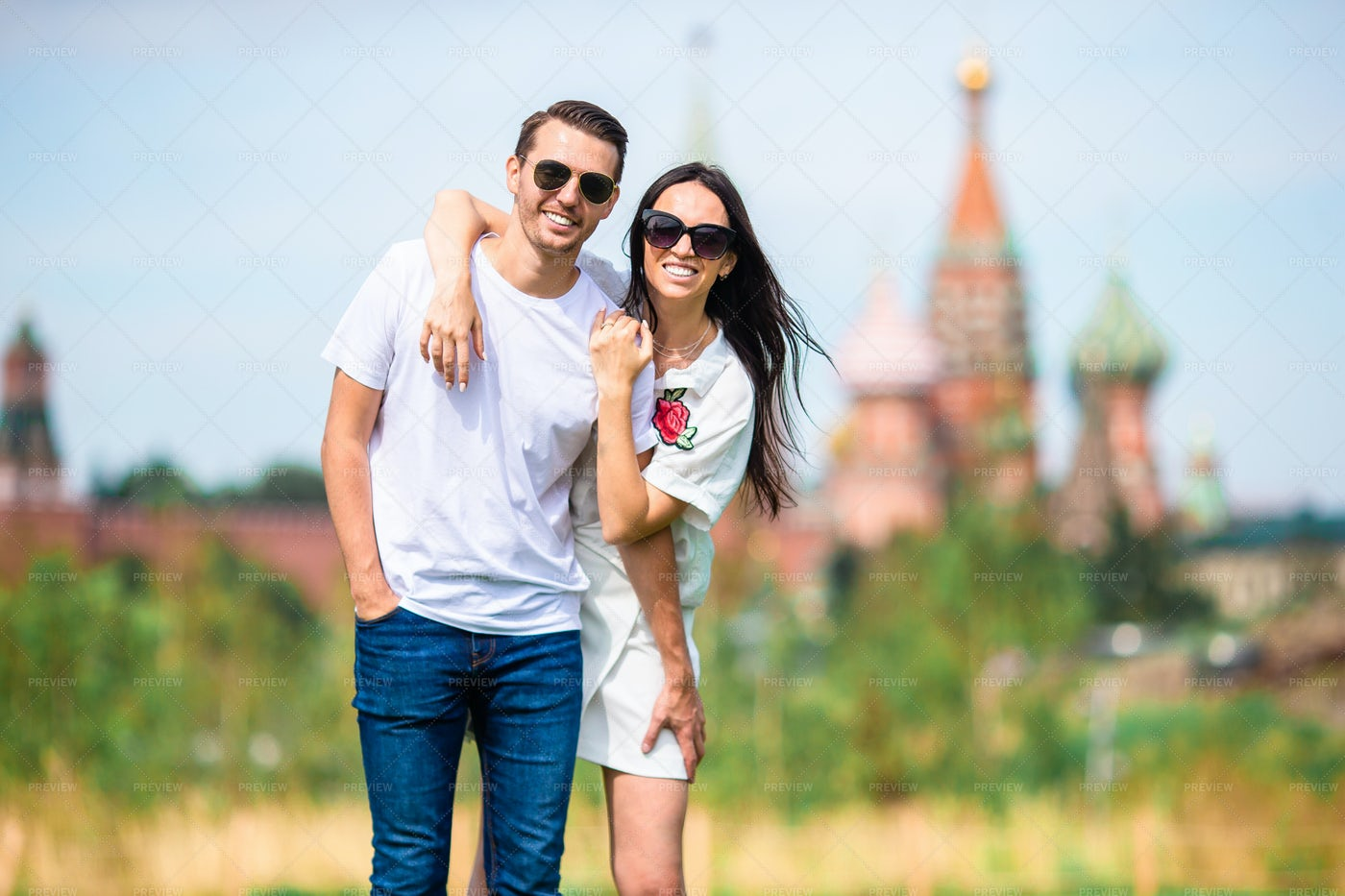 Happy Couple In Moscow: Stock Photos