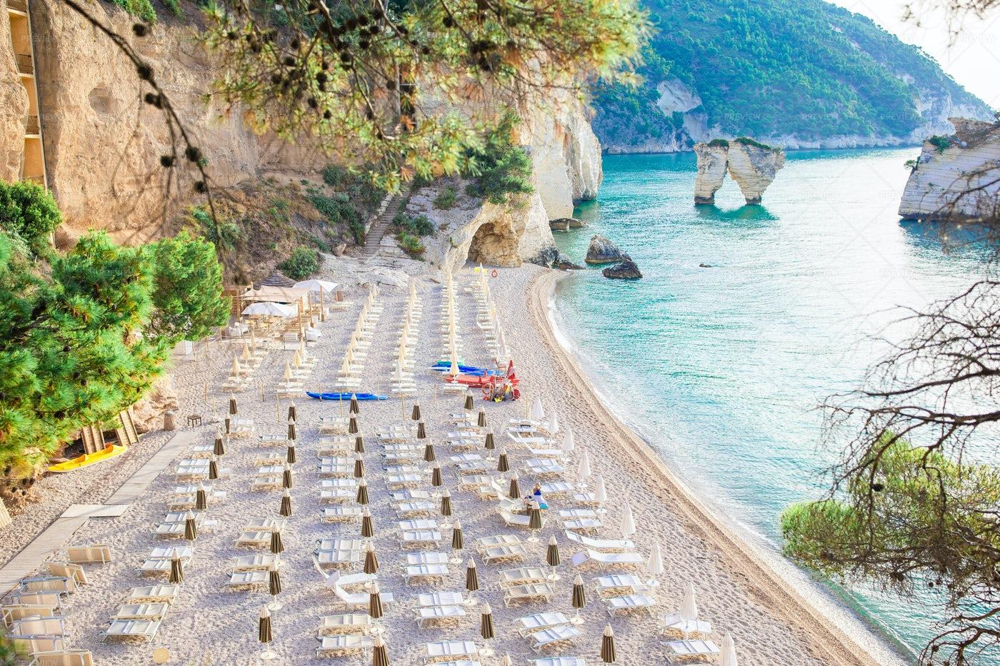 Touristic Faraglioni Di Puglia Islets: Stock Photos