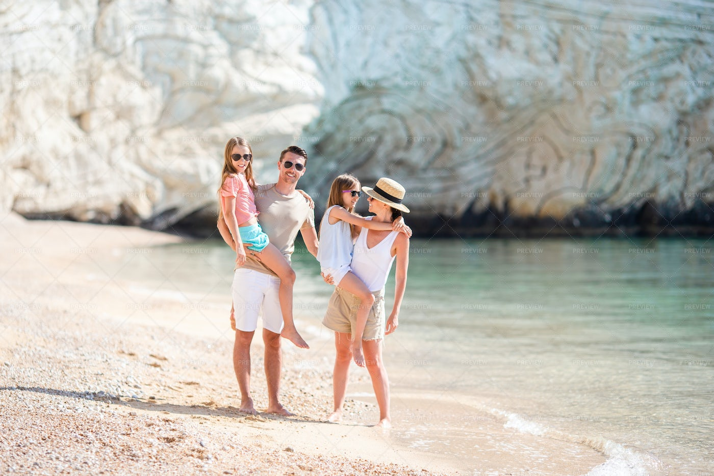 Family By The Cliffs: Stock Photos