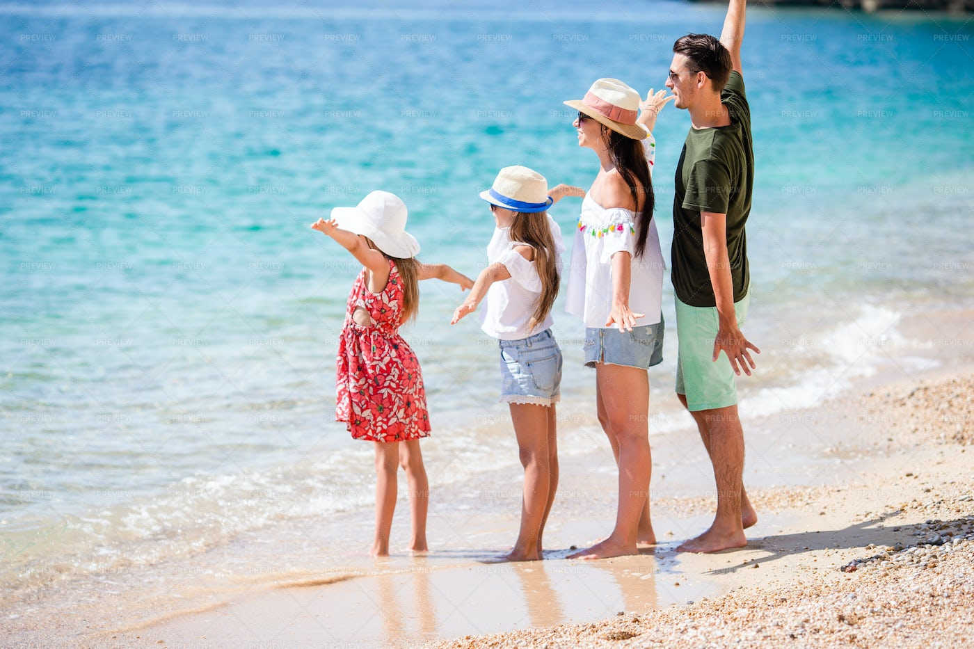 Family Of Four On Vacation: Stock Photos