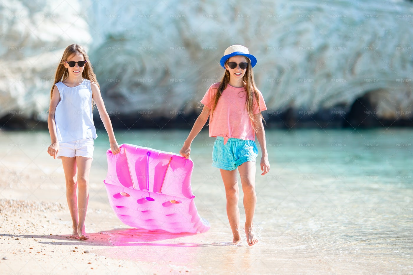 Inflatable At The Coast: Stock Photos