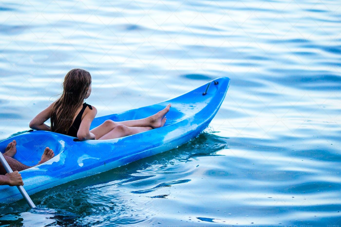 Girl Kayaks On Vacation: Stock Photos