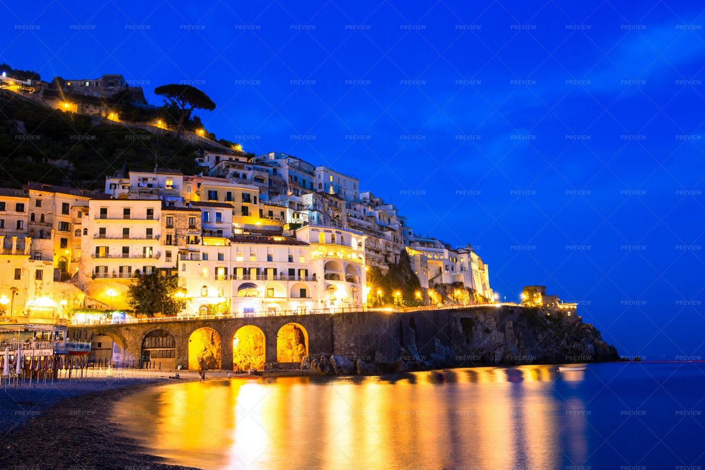 Amalfi During The Night: Stock Photos