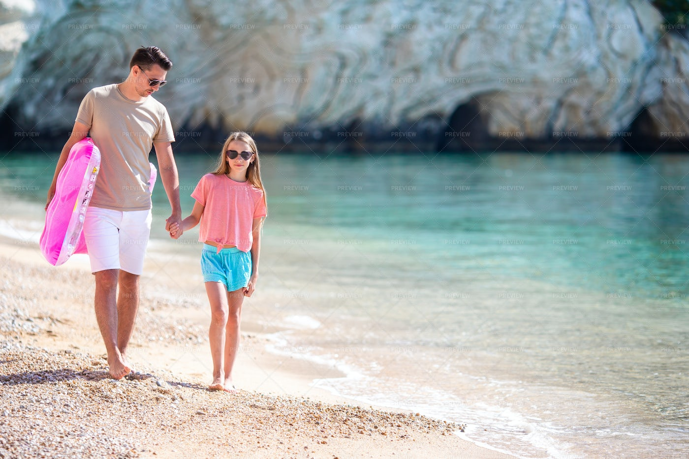 Father And Daughter On The Seashore: Stock Photos