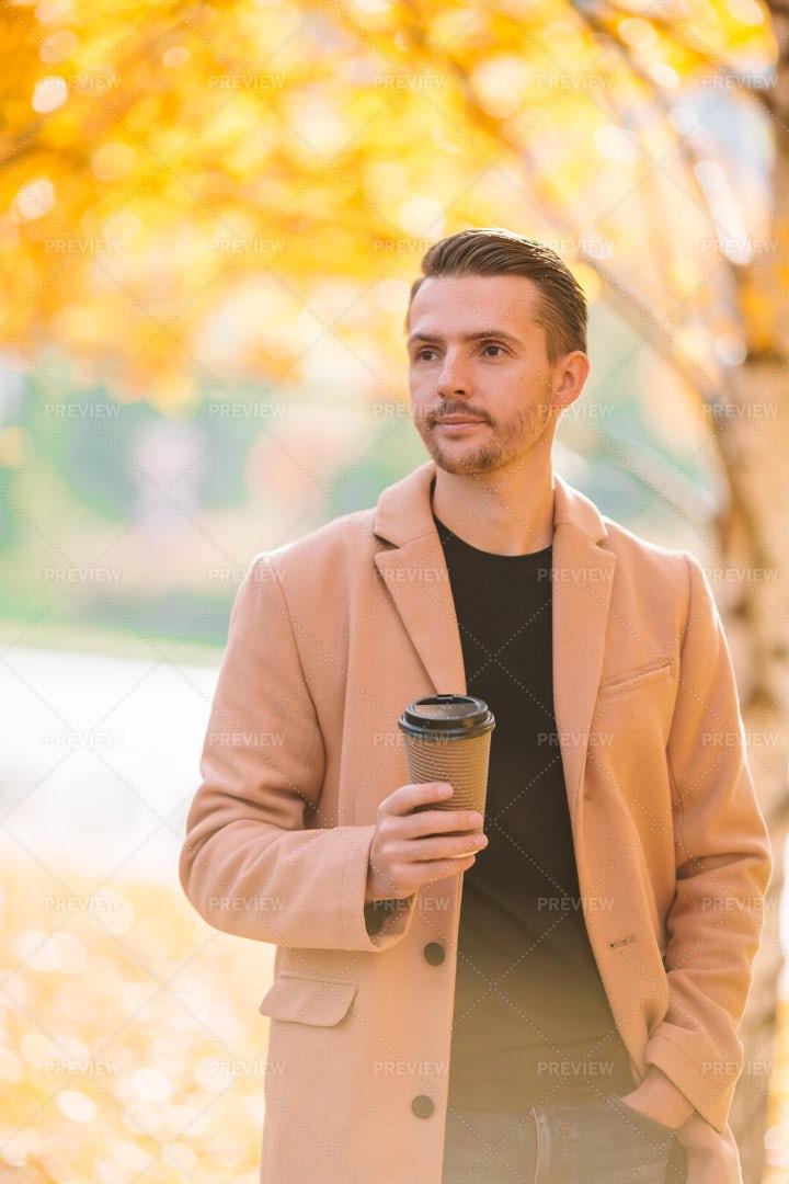 Coffee In The Autumn Park: Stock Photos