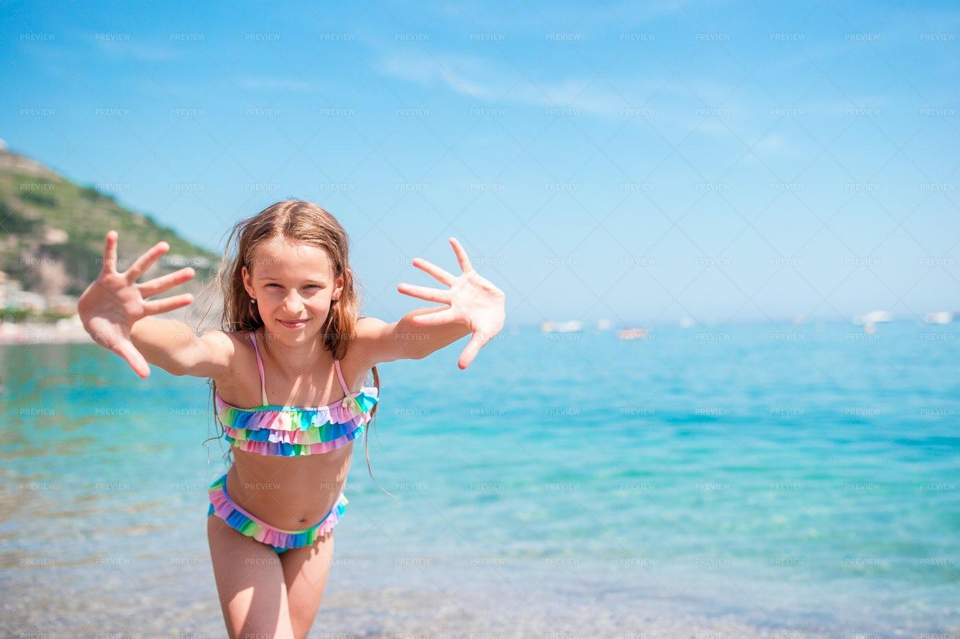 Girl On Summer Beach: Stock Photos