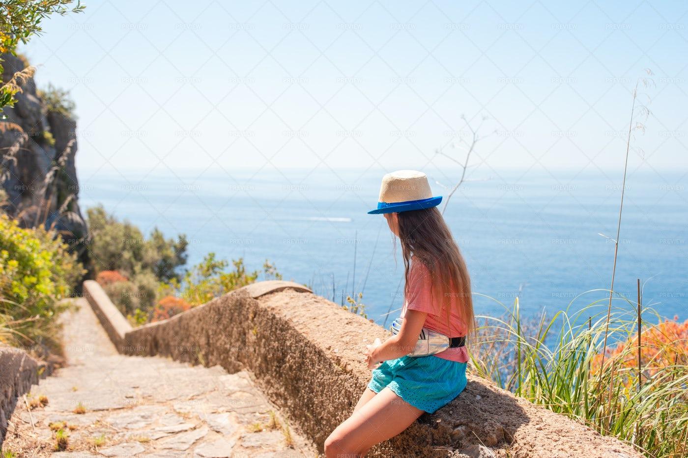 Sitting On Cliff Path: Stock Photos