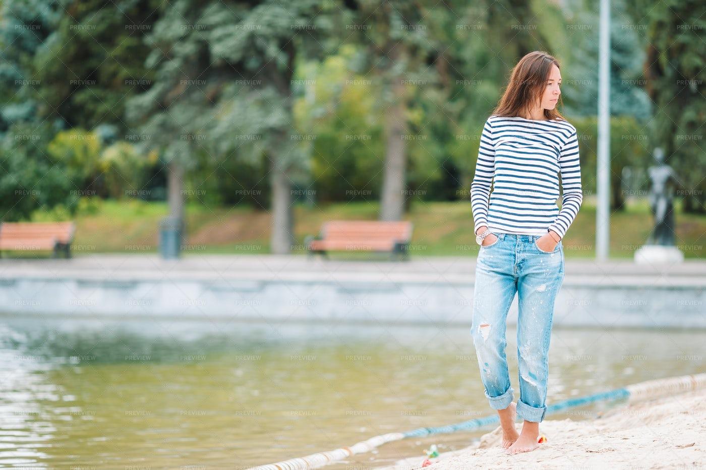 Walking Beside The Lake: Stock Photos