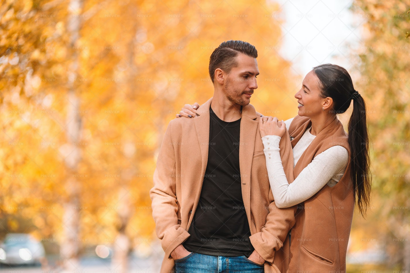Happy Couple During Autumn: Stock Photos