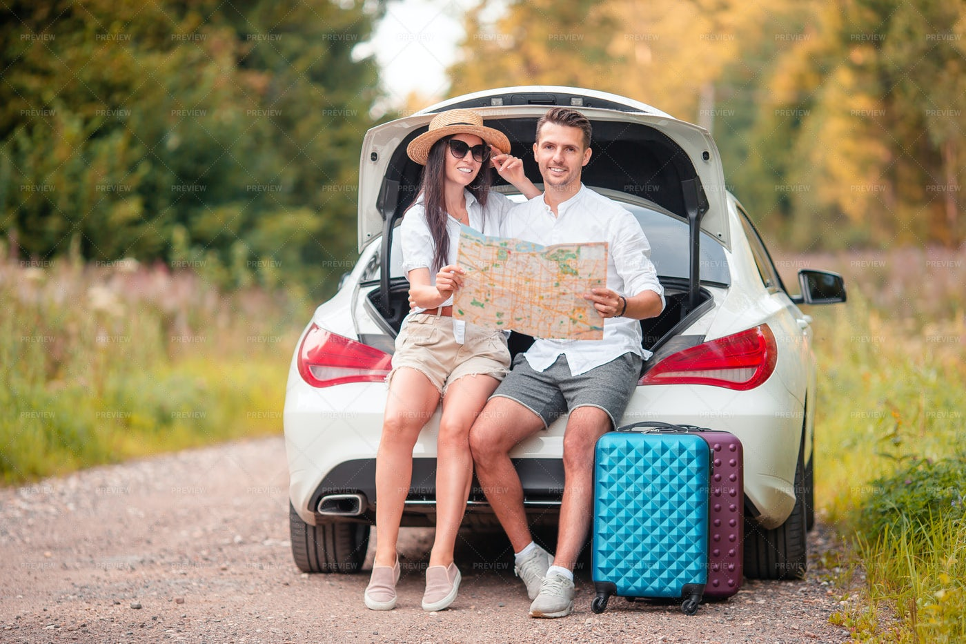 Couple Holds Map: Stock Photos