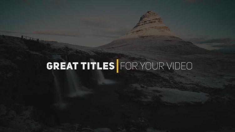 Creative Titles: Premiere Pro Templates
