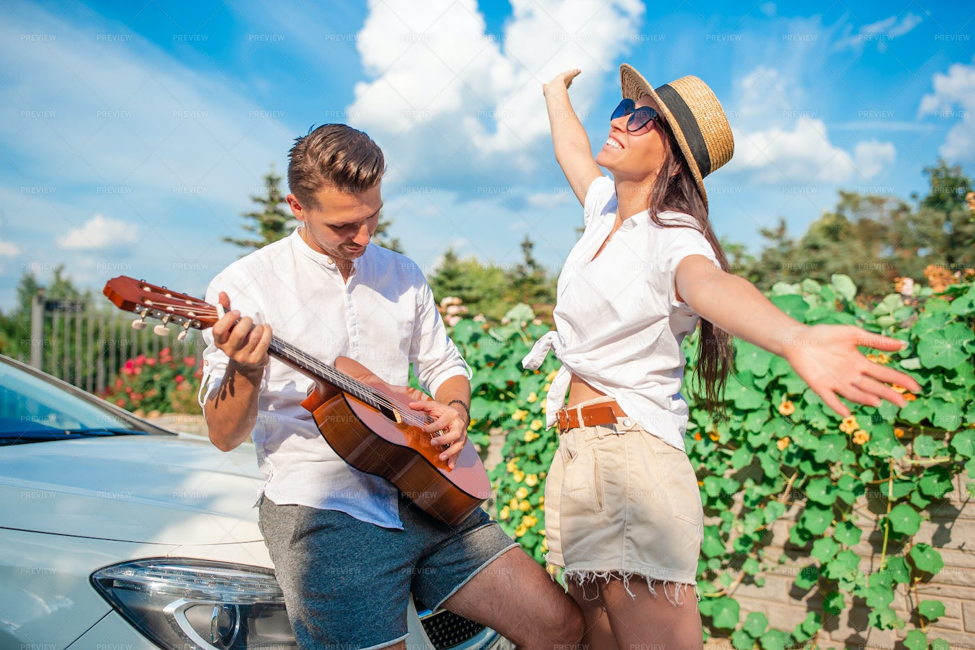 Musical And Happy Tourists: Stock Photos