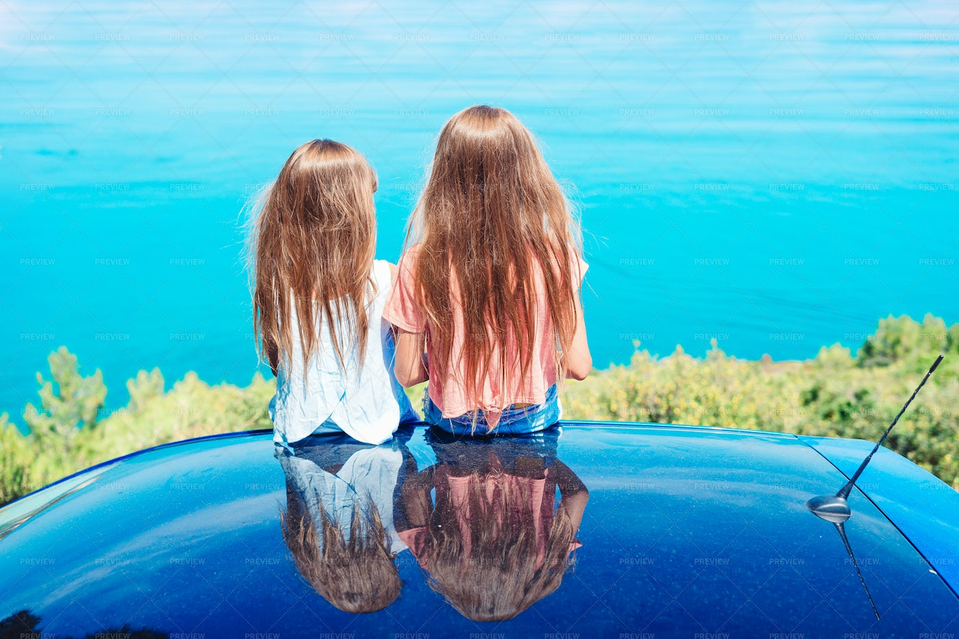 Little Sisters In A Summer Car Trip: Stock Photos