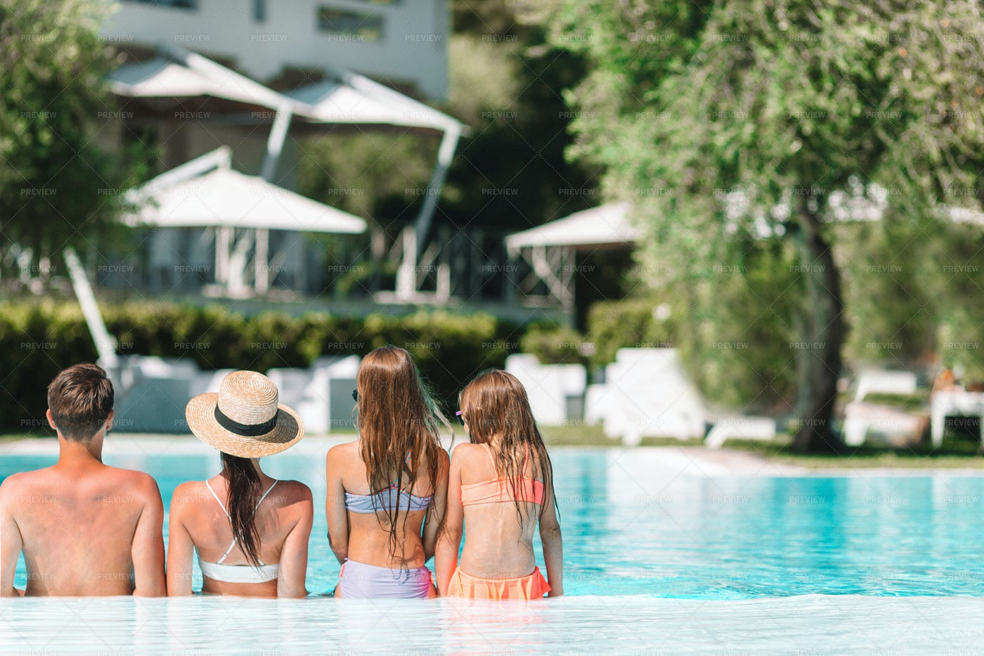 Family In Resort Pool: Stock Photos