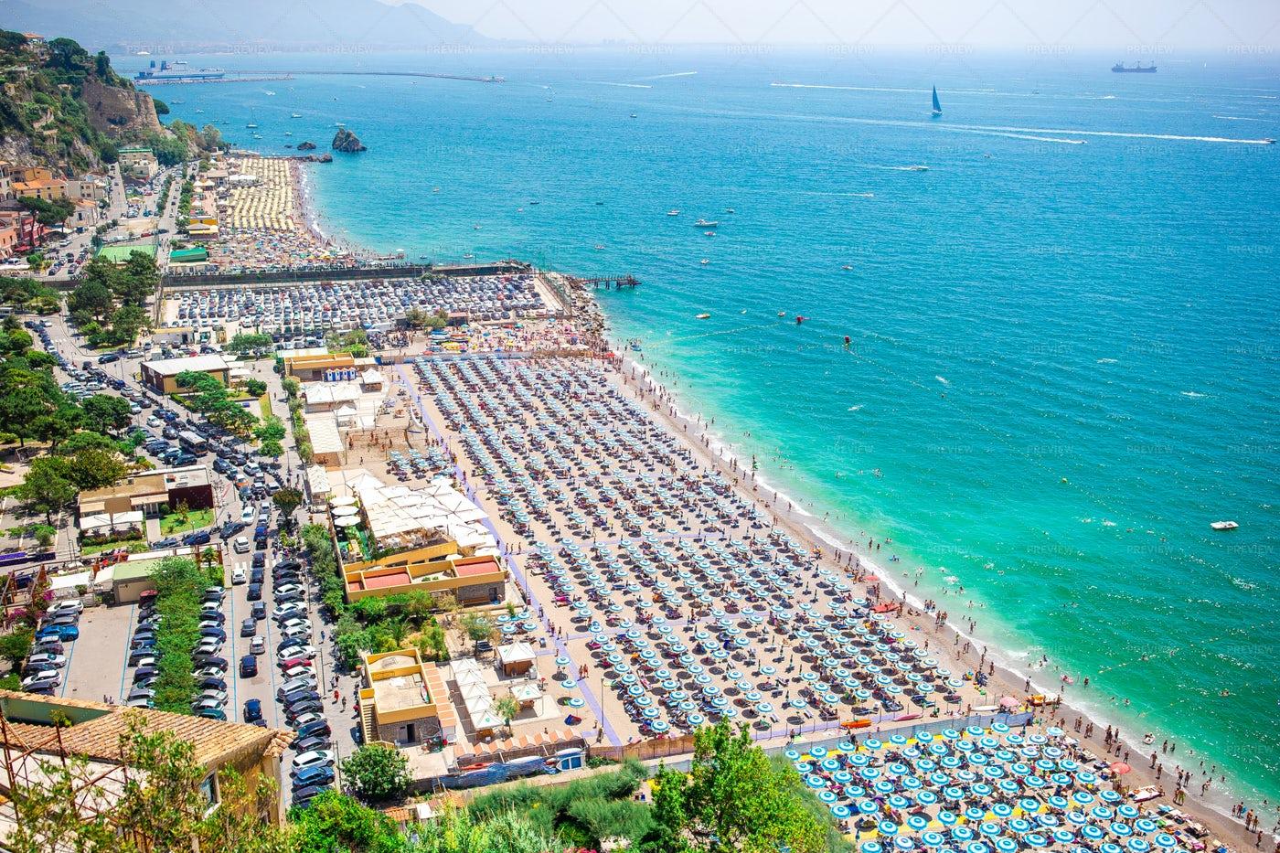 Busy Beach On Vietri Sul Mare: Stock Photos