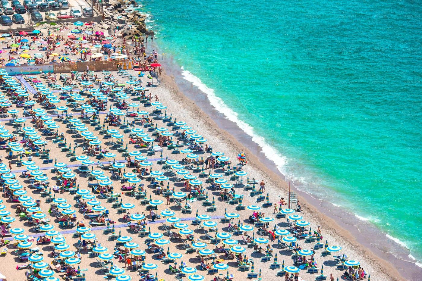Beach Umbrellas In Vietri Sul Mare: Stock Photos