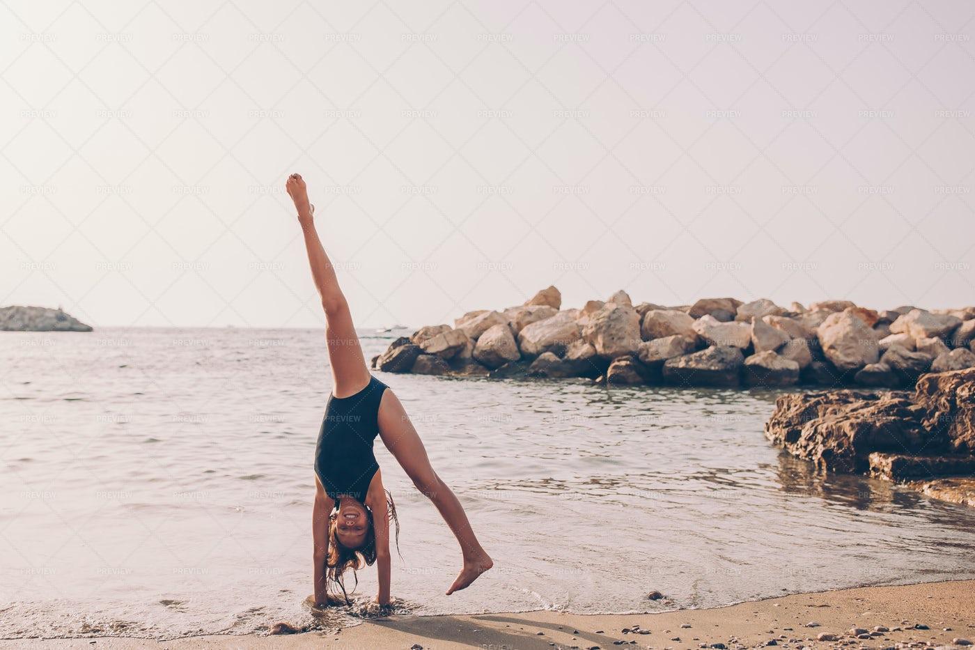 Cartwheel On Summer Beach: Stock Photos