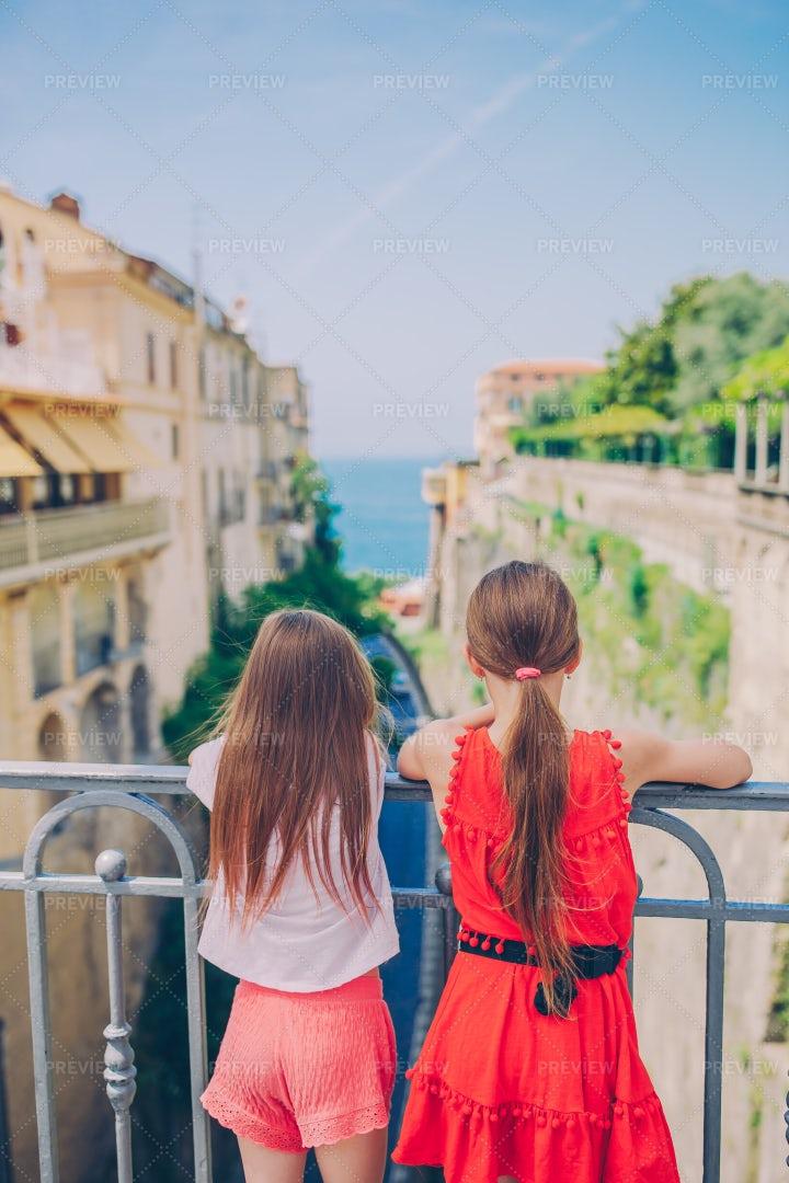 Tourist Kids On Sorrento: Stock Photos