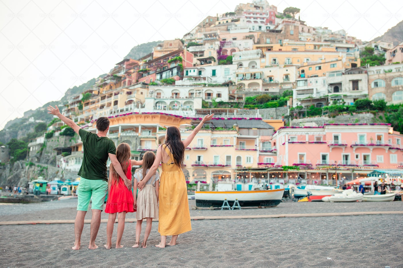 Family Vacations In A Coastal Town: Stock Photos