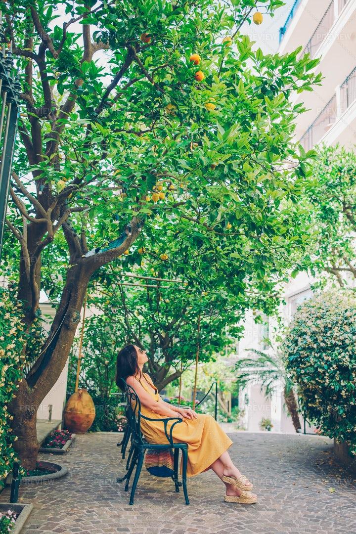 Woman In A Lemon Garden Of Sorrento: Stock Photos