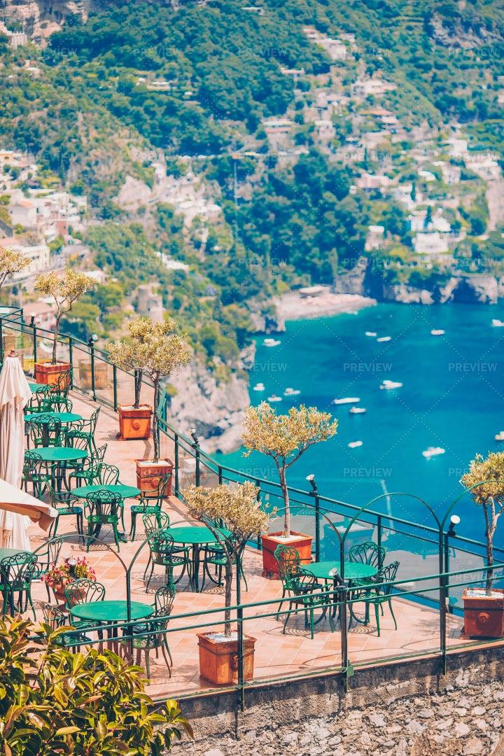 Empty Amalfi Cafe: Stock Photos