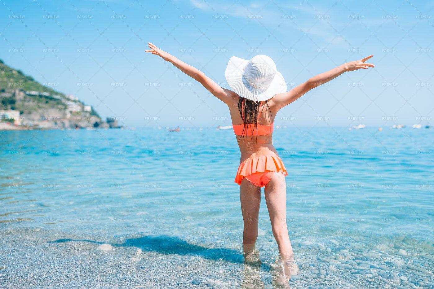 Beach Girl Extends Arms: Stock Photos