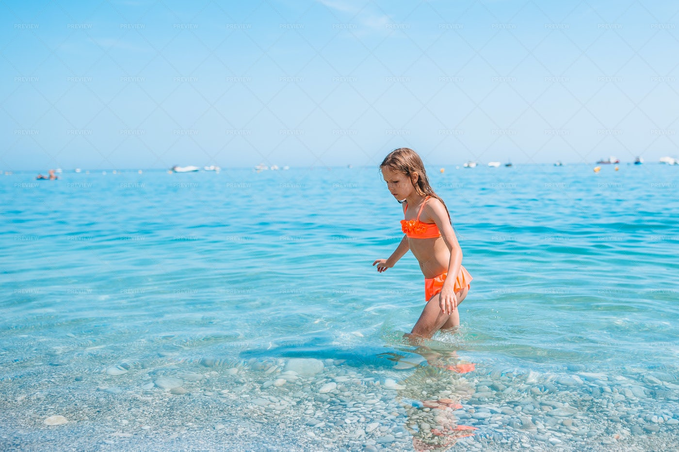 Playing In Shallow Water: Stock Photos