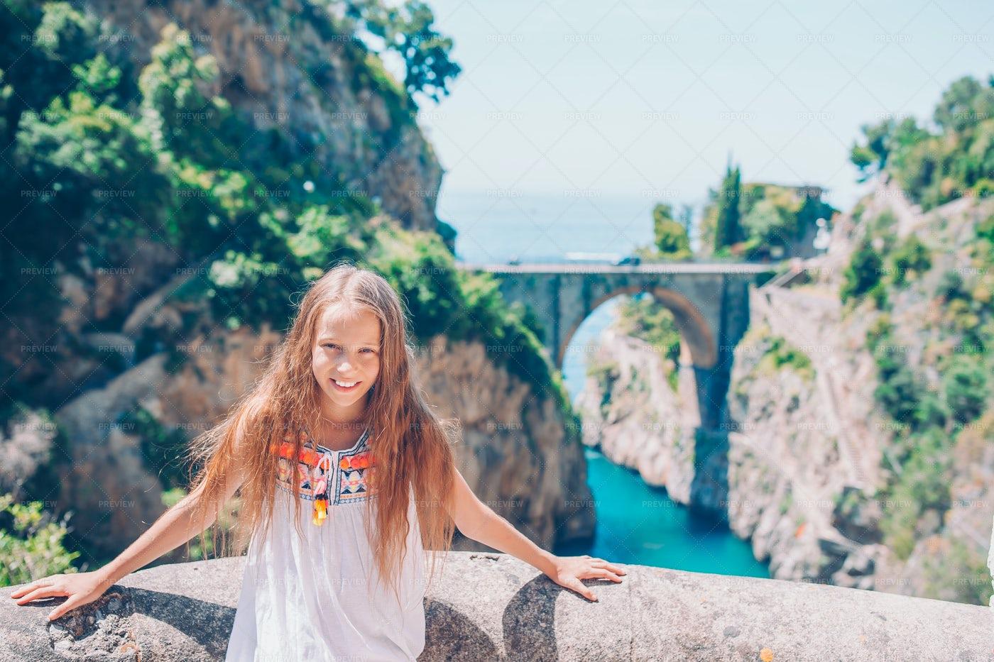 Girl With Fiordo Di Furore In The Back: Stock Photos