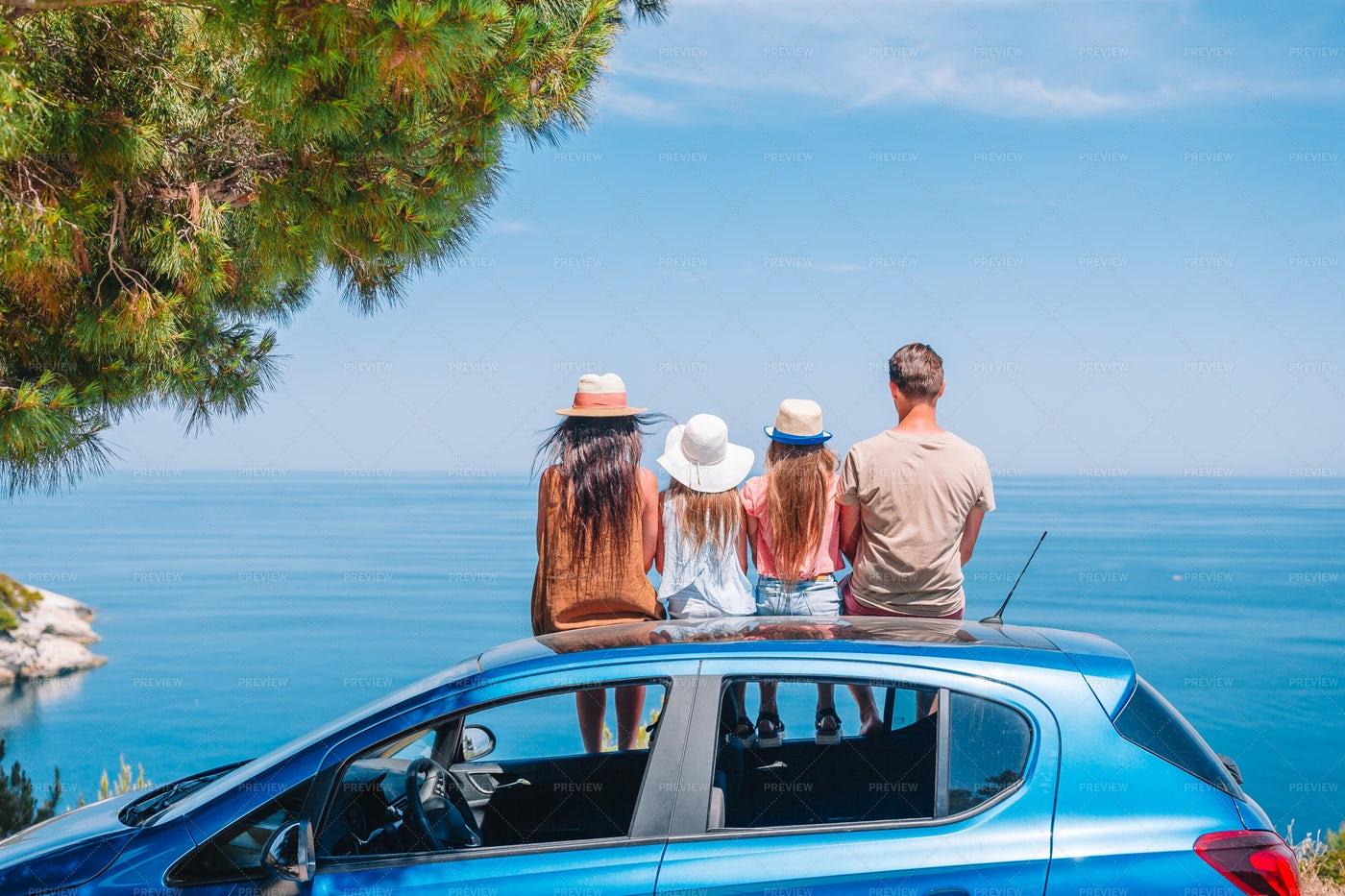 Family On The Car: Stock Photos