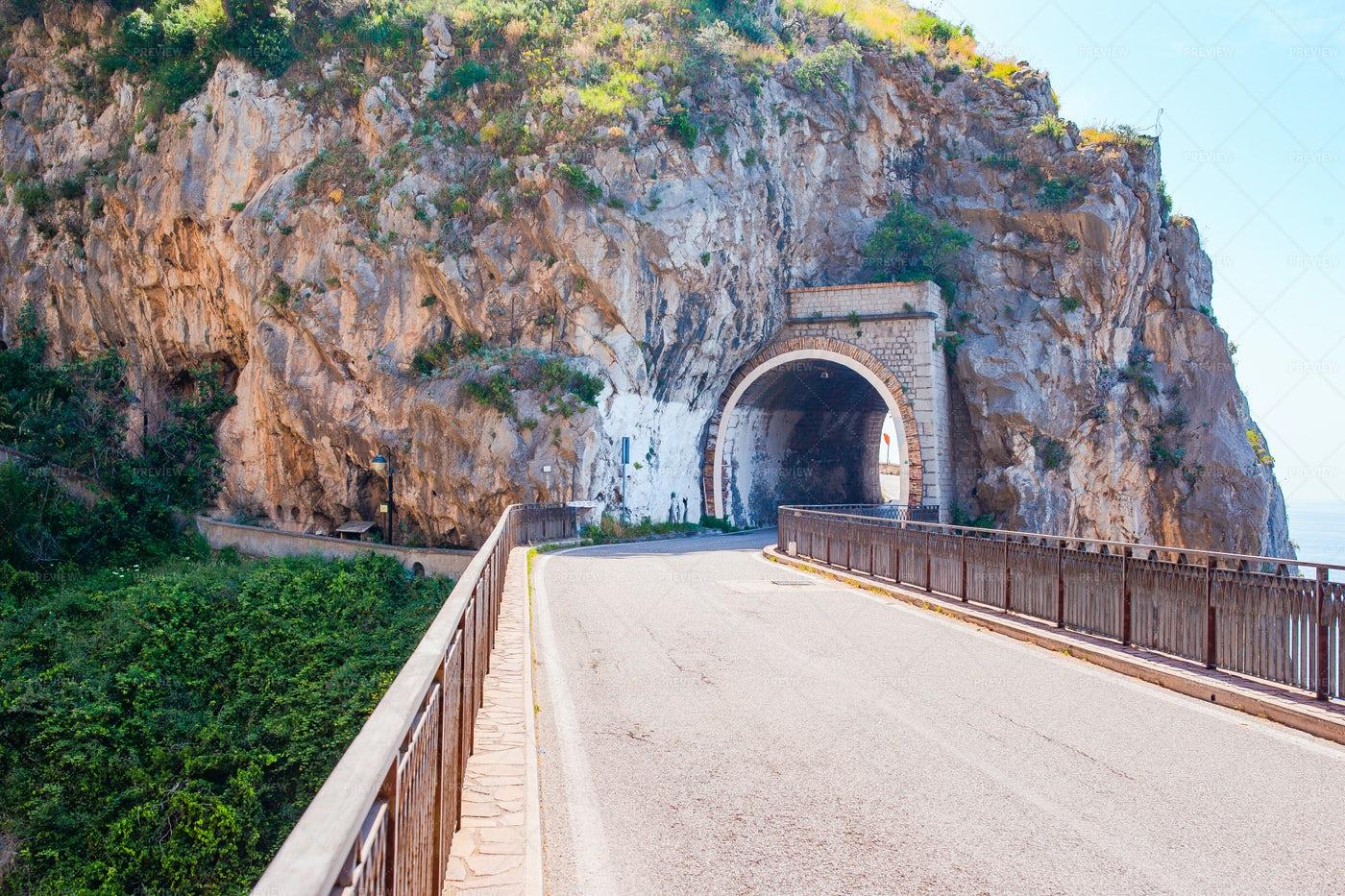 Tunnel In Furore, Italy: Stock Photos