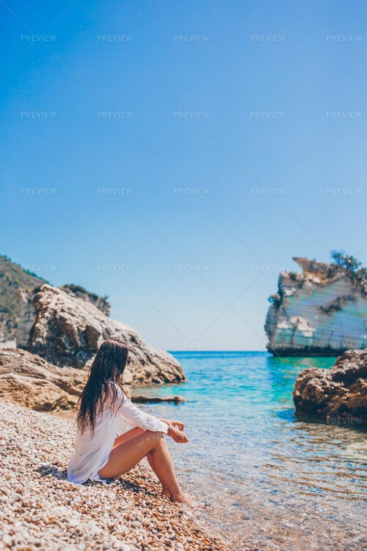 Taking In The Beach Views: Stock Photos