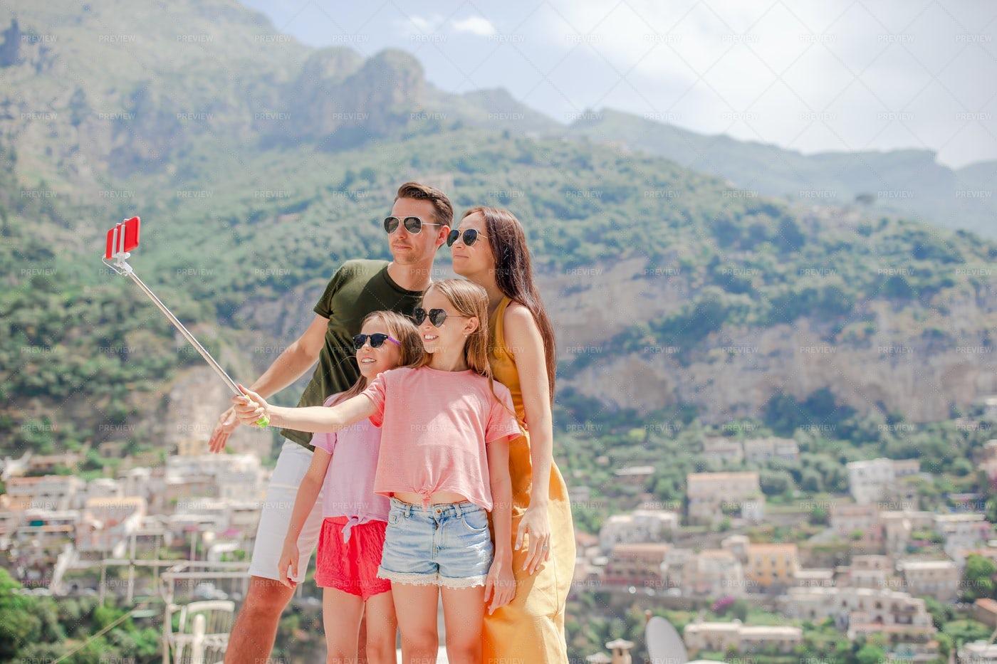 Parents And Kids Talking A Selfie: Stock Photos