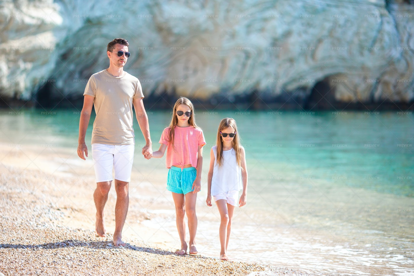 Walking With Dad On Beach: Stock Photos