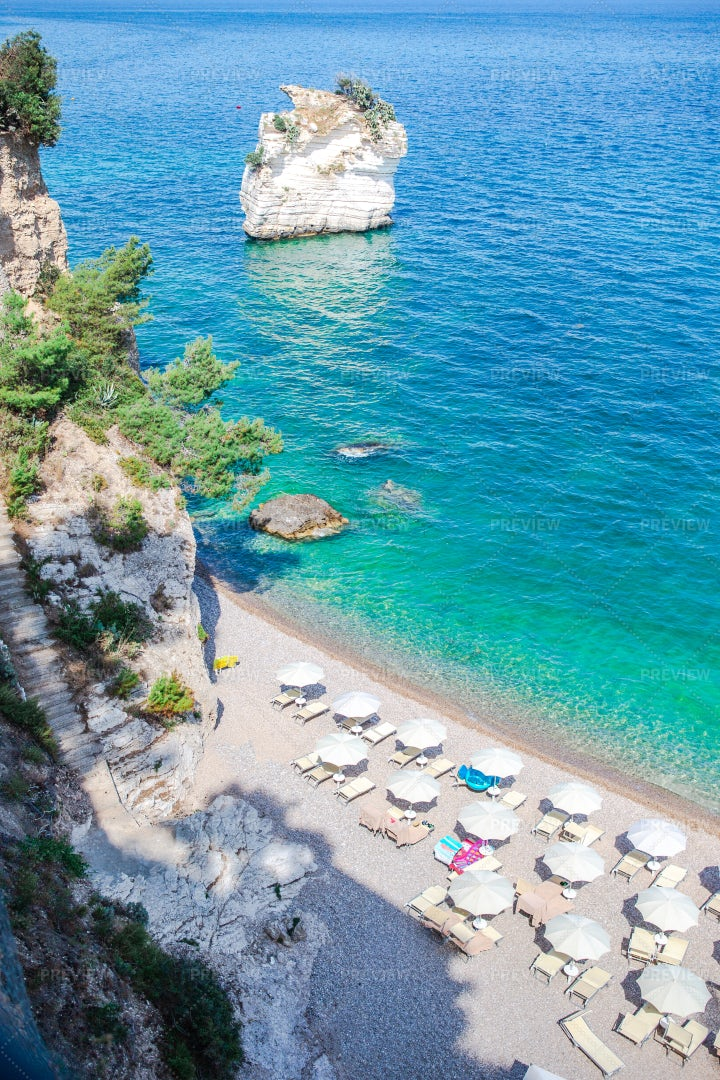 Private Beach On Gargano: Stock Photos