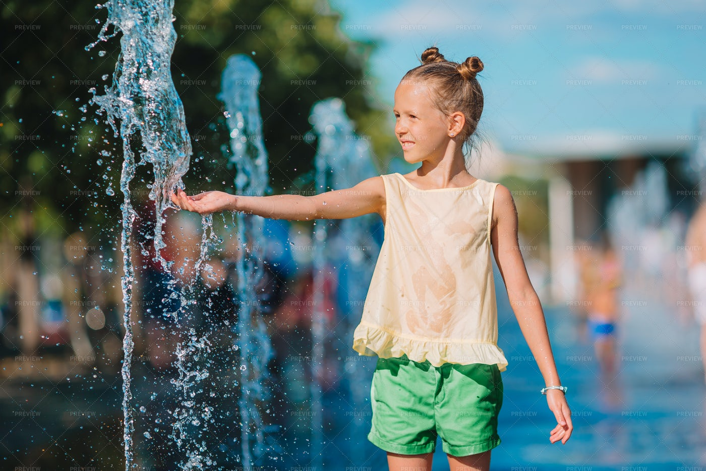 Playing In The Fountains: Stock Photos