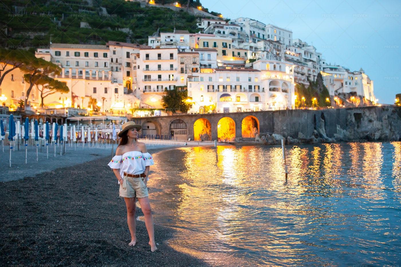 Woman In Positano: Stock Photos