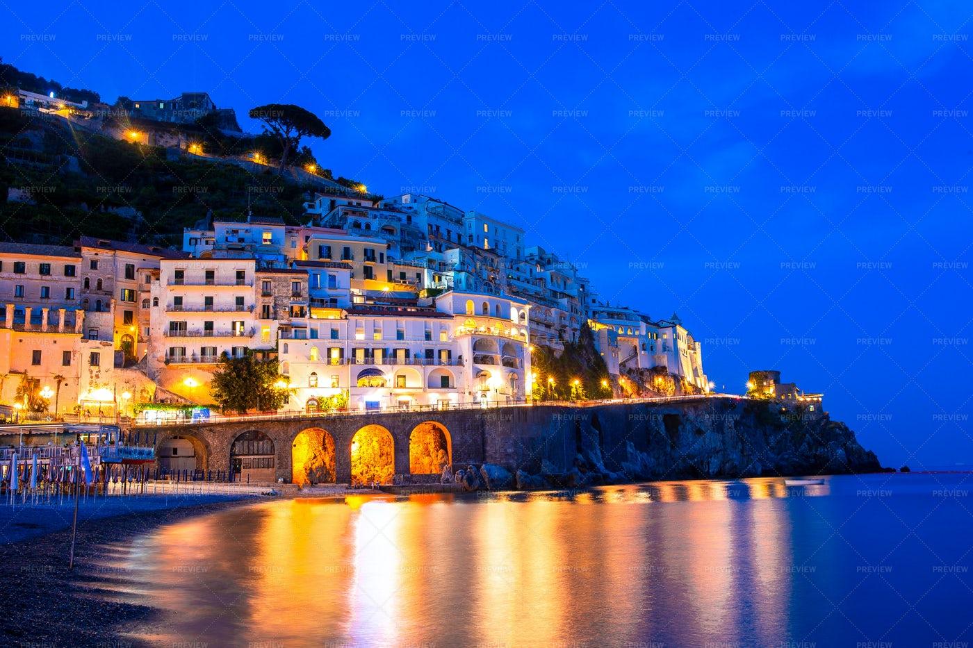 Illuminated Coastal Town In Itlay: Stock Photos
