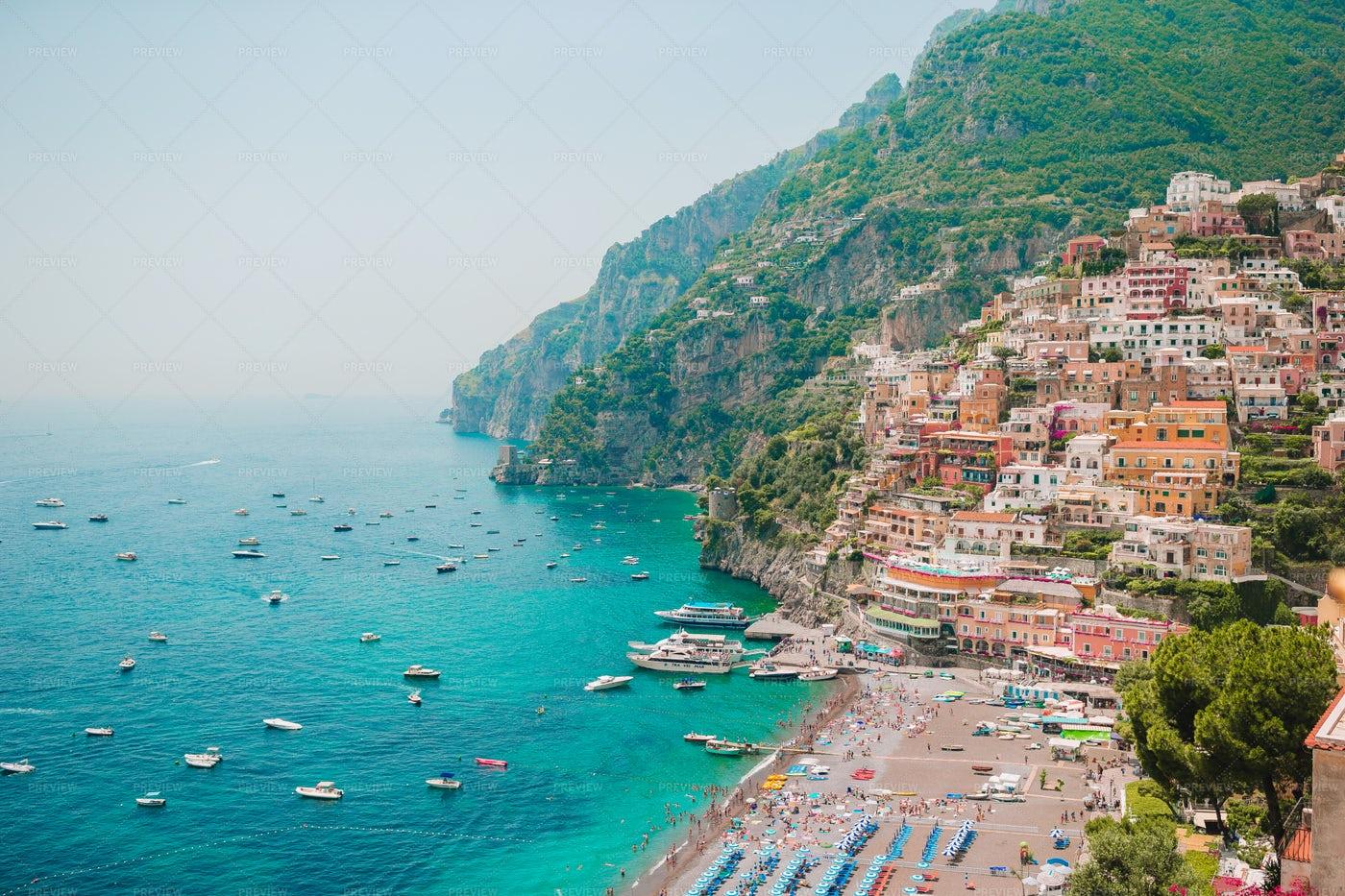 Panoramic View Of Positano: Stock Photos